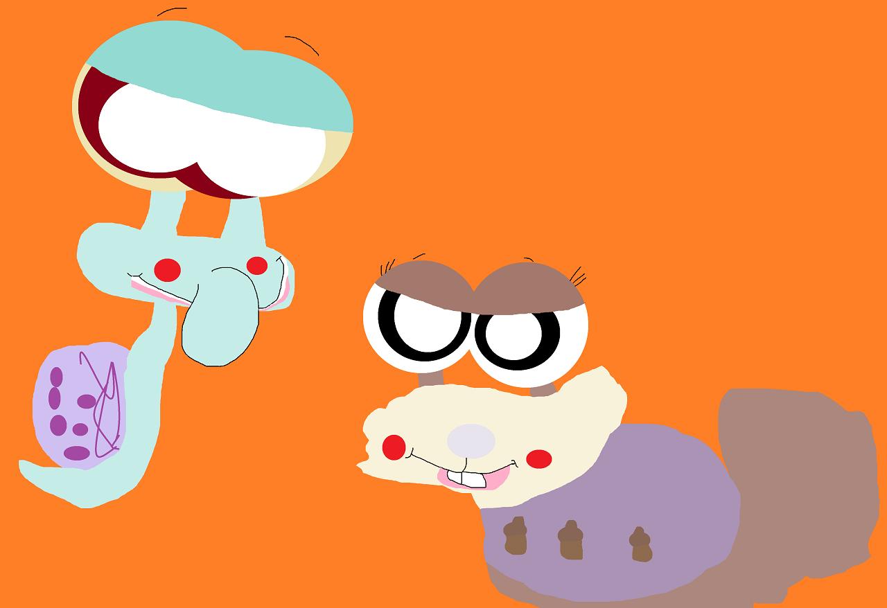 Squidward And Sandy Snails by Falconlobo