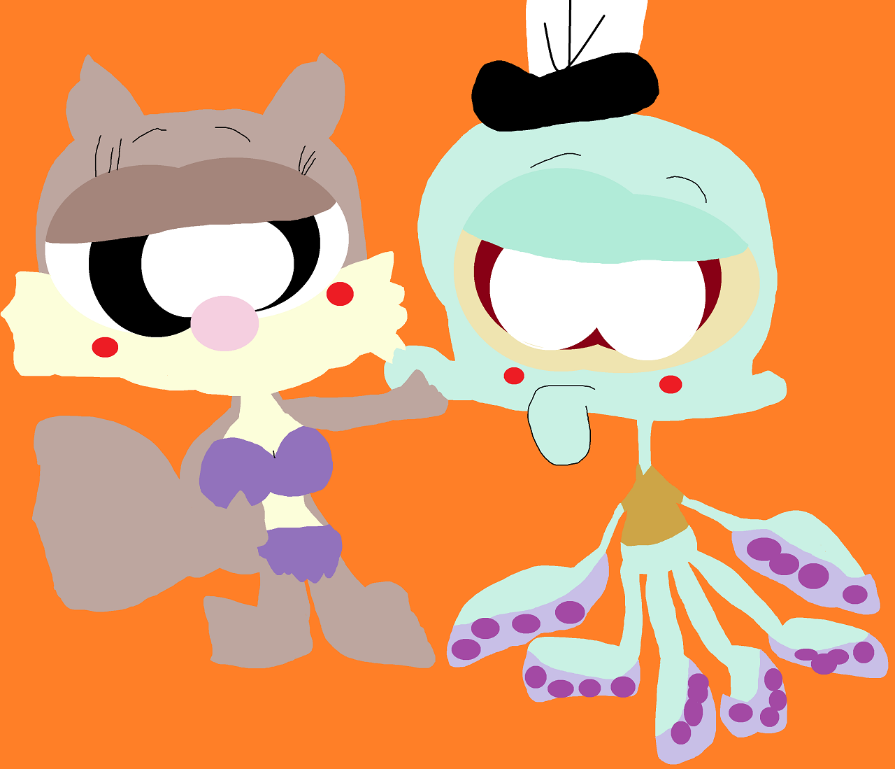 Cute Random Chibi Sandy Coming Ontro Squidward Alt by Falconlobo