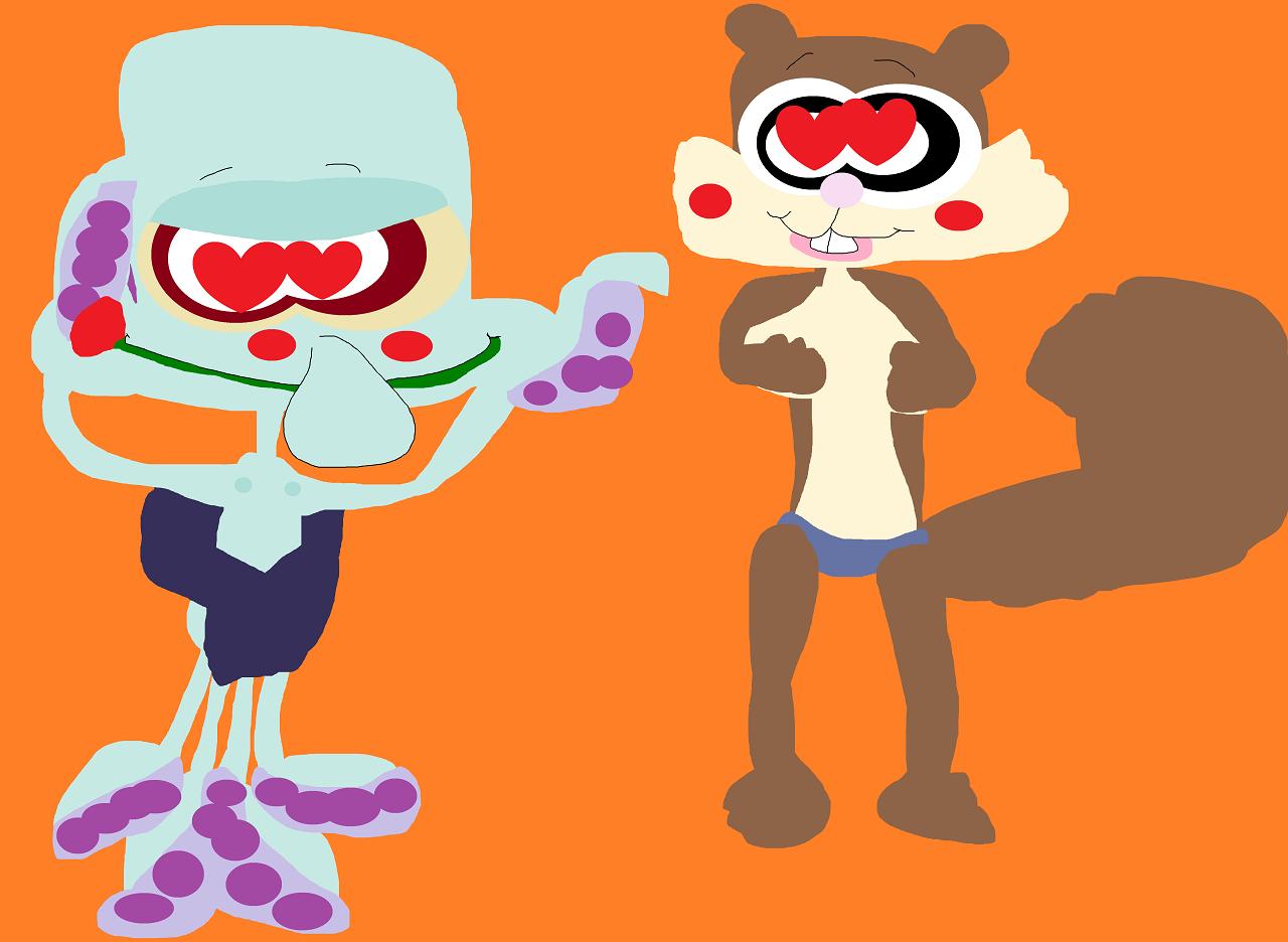 Random Squidward And Sandy Getting Ready For Fun by Falconlobo