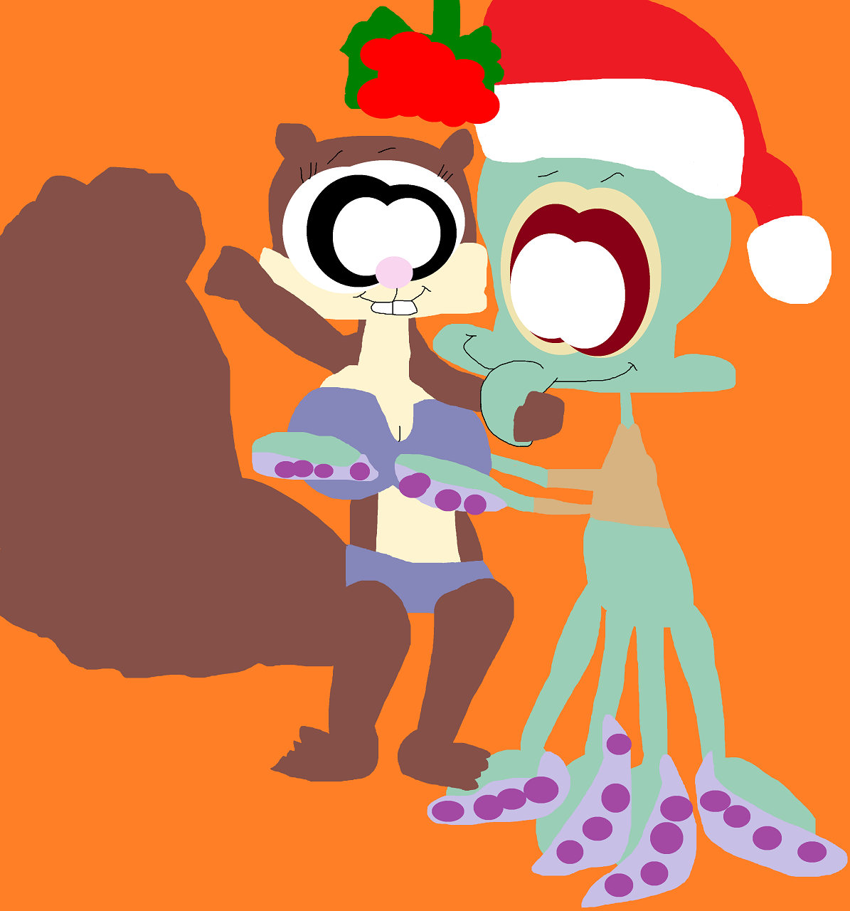 Squidward Getting Frisky Under The Mistletoe With Sandy by Falconlobo