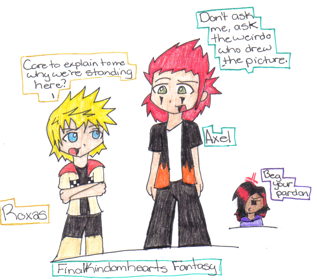 Axel and Roxas- Art Trade w/Finalkingdomheartsfantasy by FallingRaindrops