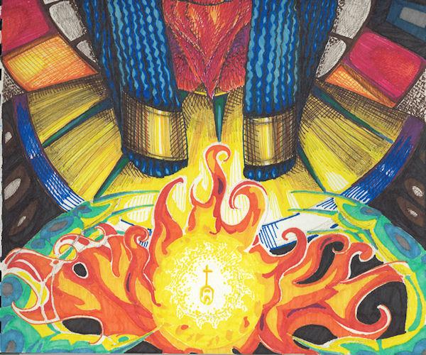 flame-bearer (fire & hands detail) by Firiel