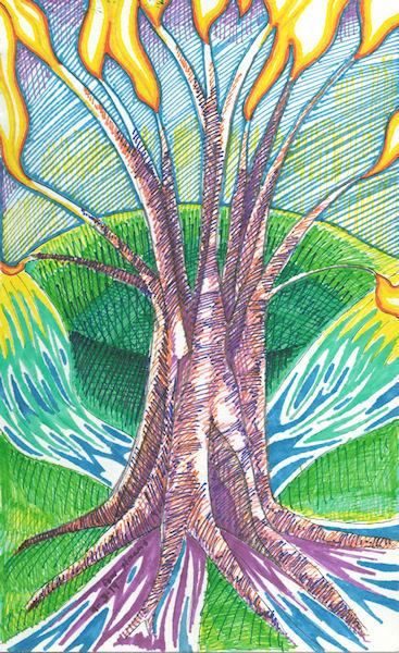 tree, fire, streams by Firiel