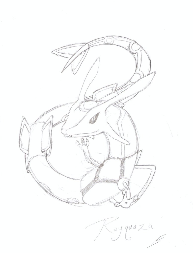 Raquaza sketch by FlameShadow