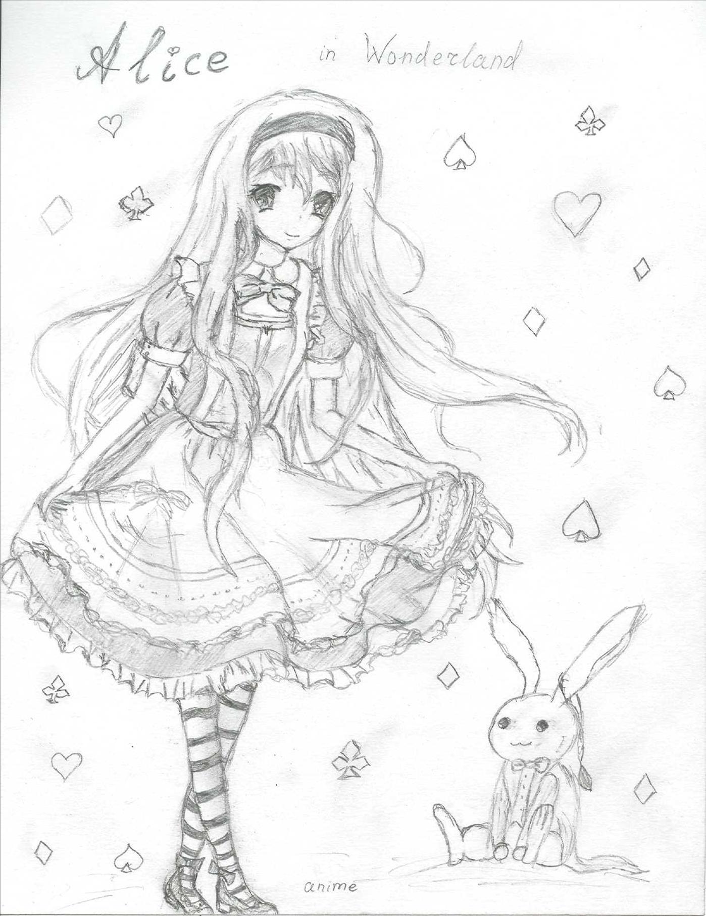 Anime Alice in Wonderland Drawing