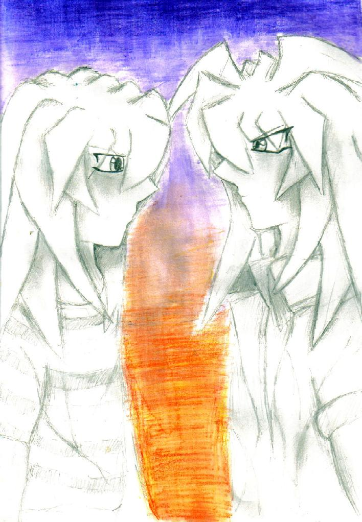 sunset Ryou and Bakura by Fluffybunny