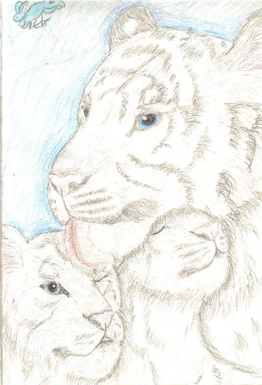 White tiger and cubs: for Silver Flame by Fluffybunny