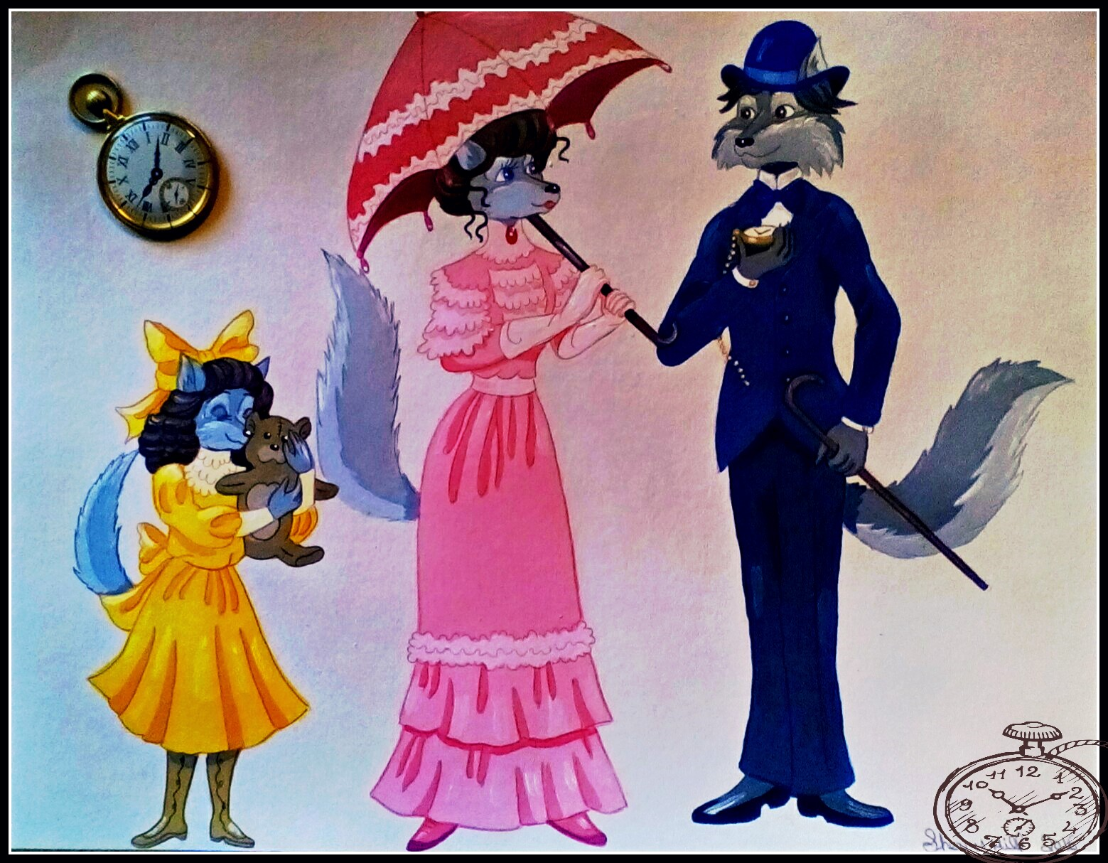 Early 1900's Wolf Family by FoxyFlapper