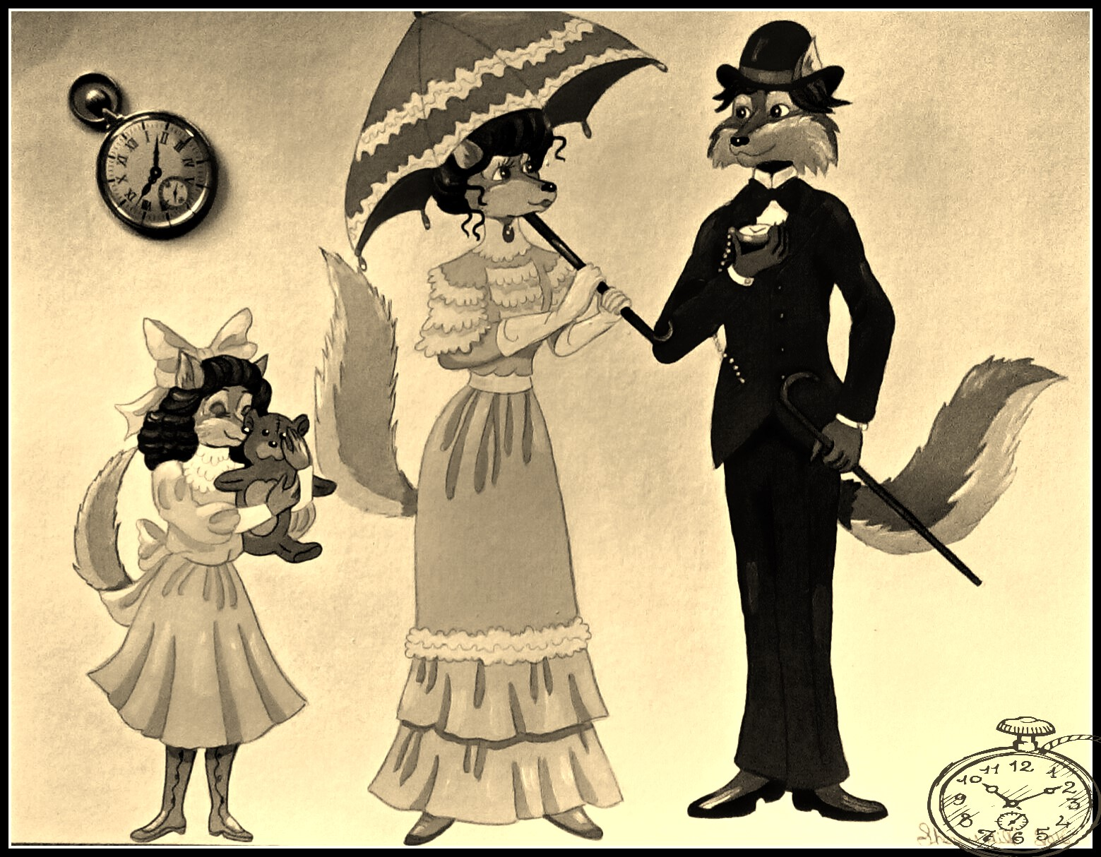Early 1900's Wolf Family-Sepia Color by FoxyFlapper