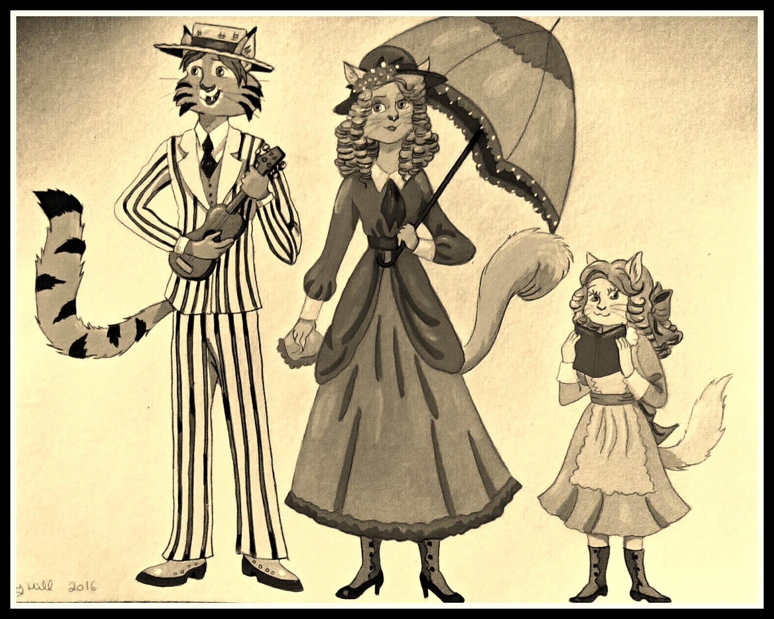 1910 Cat Family-Sepia Color by FoxyFlapper