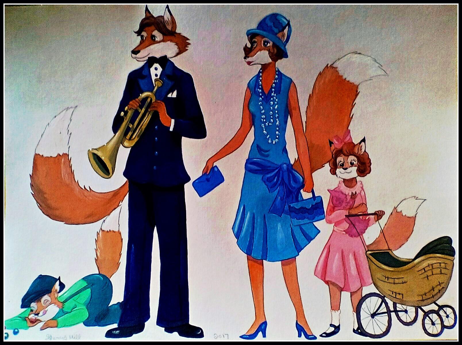 1920's Fox Family by FoxyFlapper