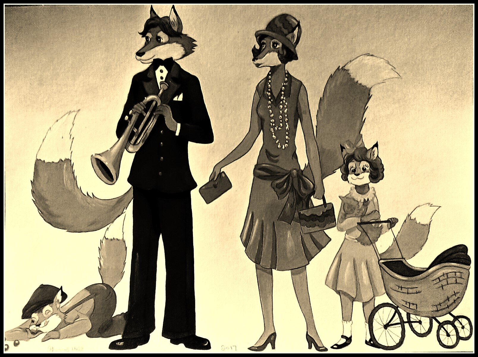 1920's Fox Family-Sepia Color by FoxyFlapper