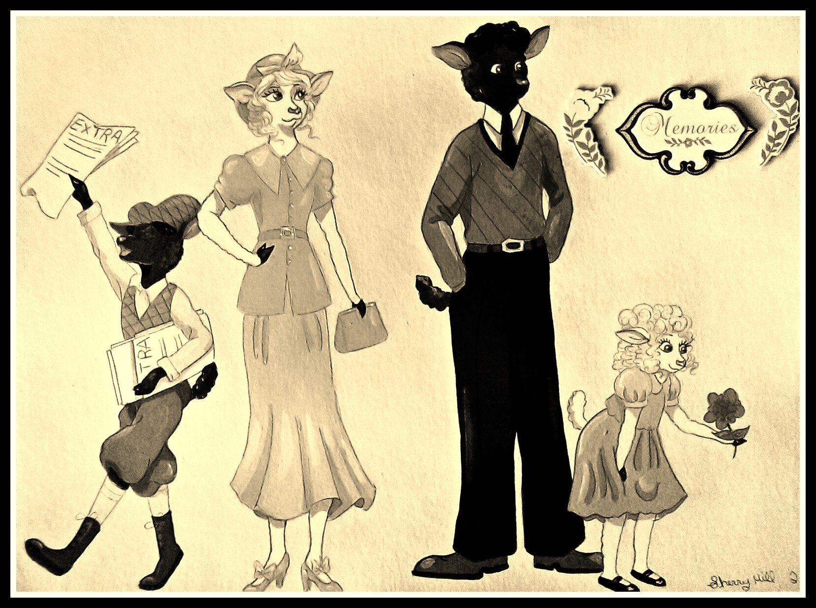 1930's Sheep Family-Sepia Color by FoxyFlapper