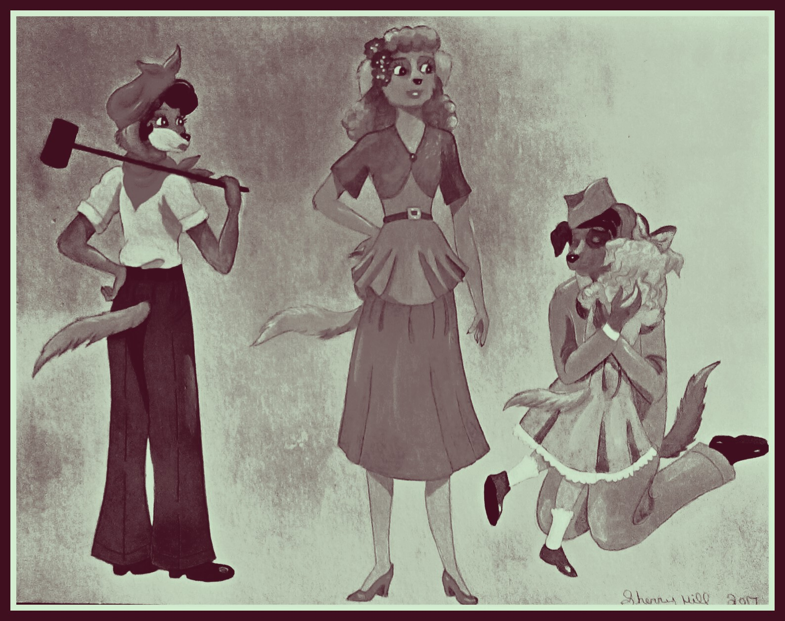 1940's Dog Family-Black And White by FoxyFlapper