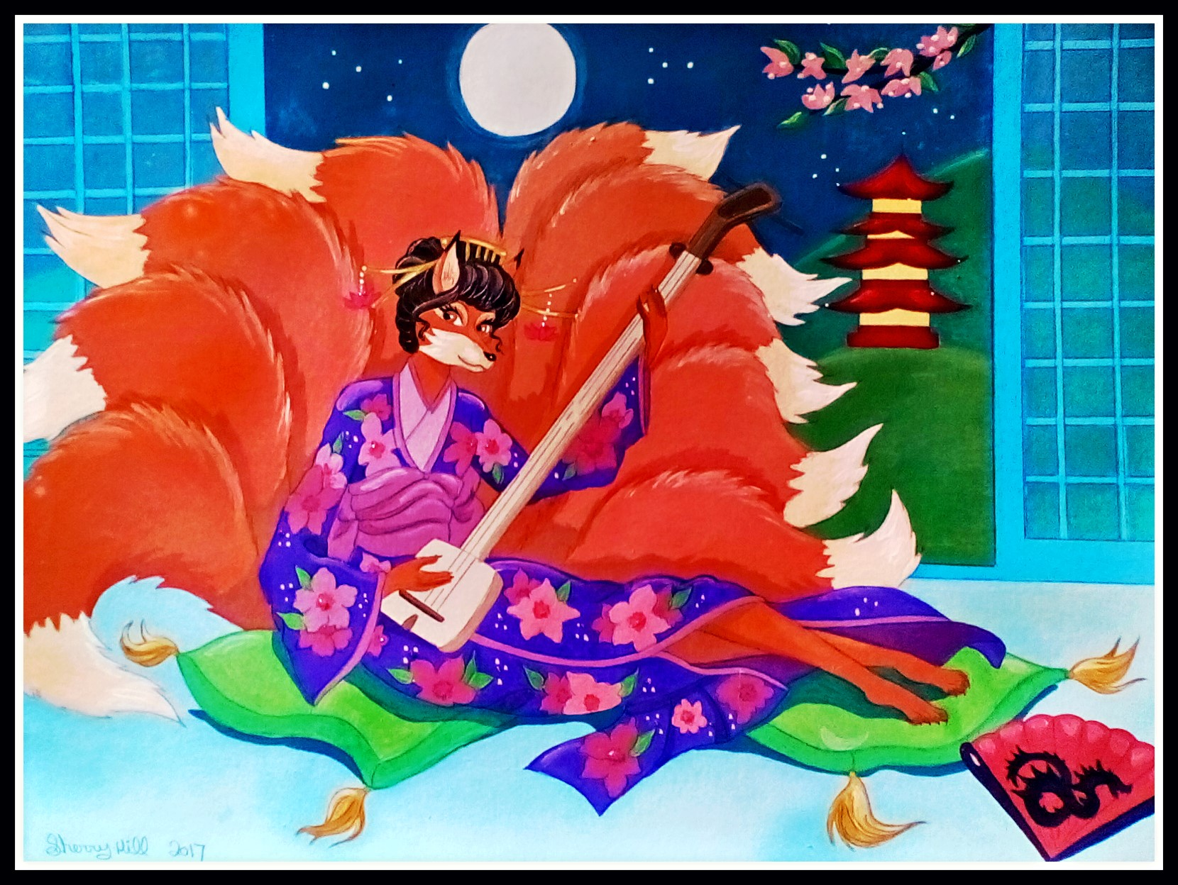 Shamisen Kitsune by FoxyFlapper