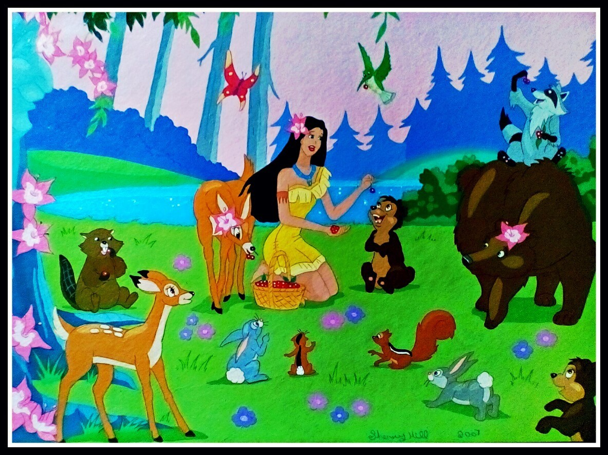 Pocahontas and her Animal Friends by FoxyFlapper
