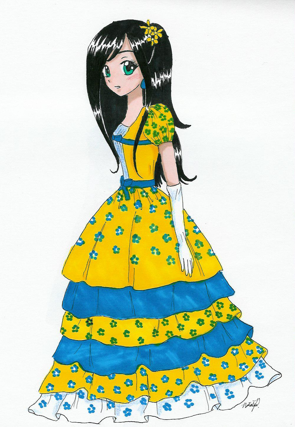Yellow & Blue Dress by Fumie716