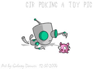 *Gir Poking a Toy Pig* by GalaxyDancer