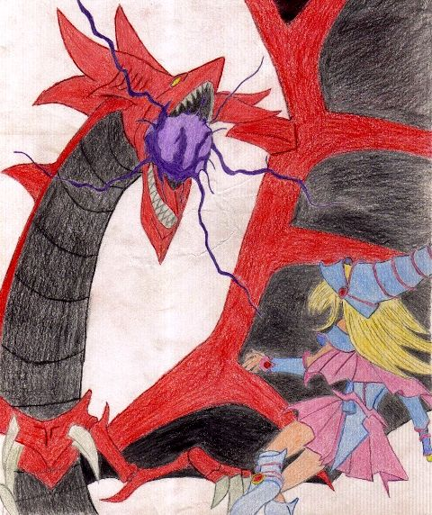 Slifer the Sky Dragon VS Dark Magician Girl by GeneralOnion