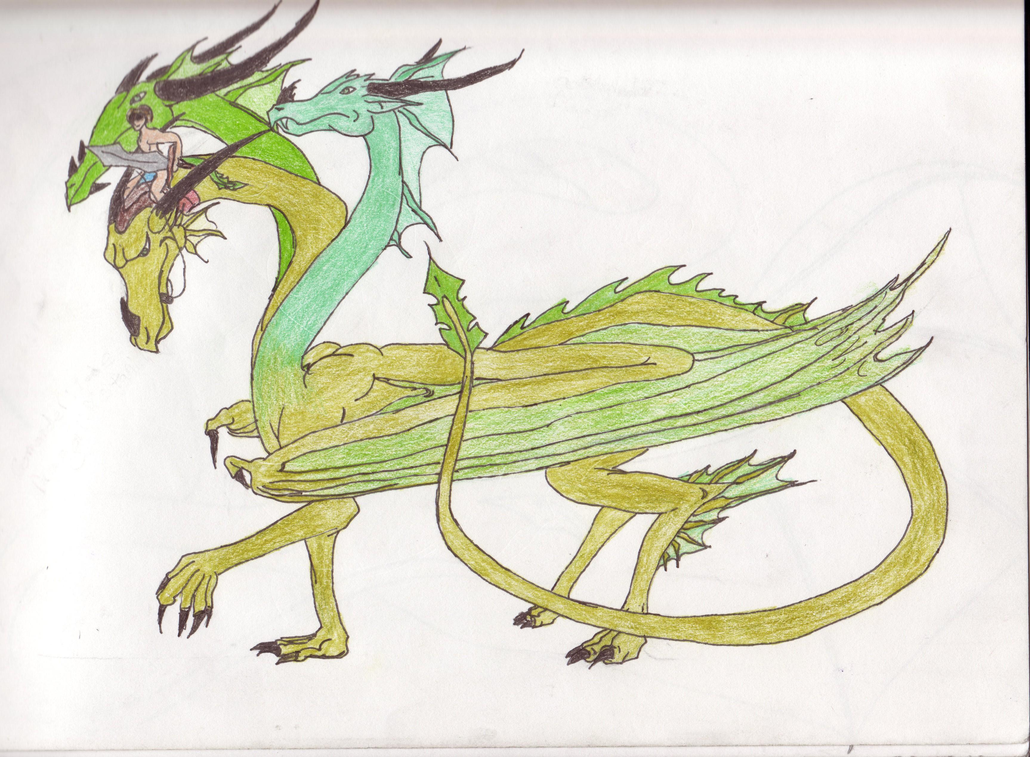Three headed alien dragon by GhostArt6