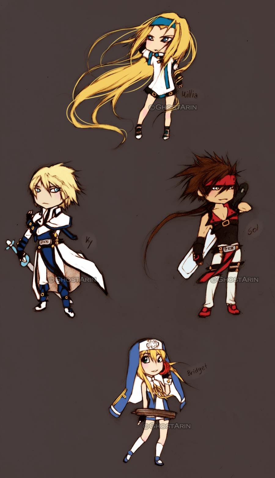 Guilty Gear Chibis by ghostarin