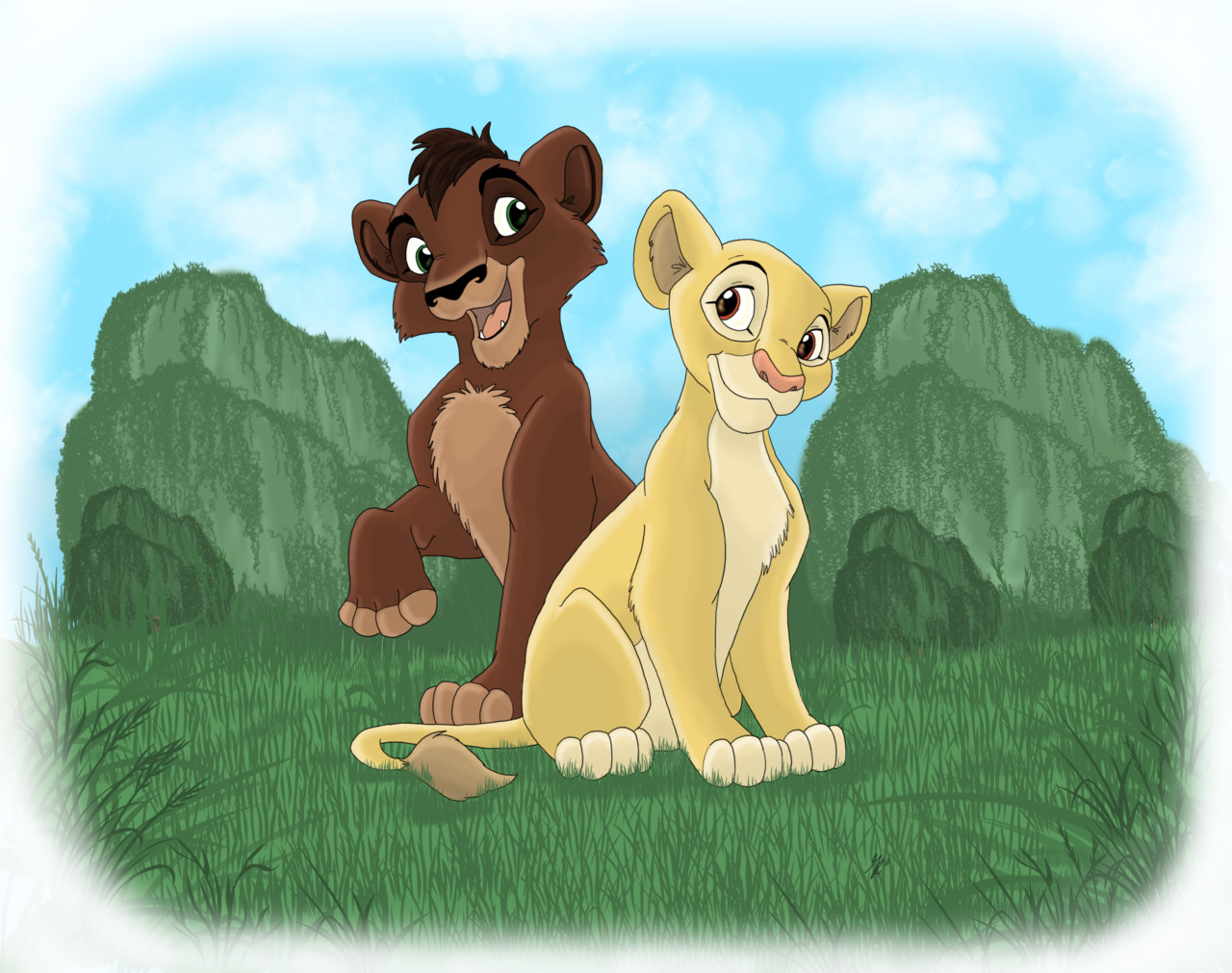 Kovu and Kiara by gillustrations