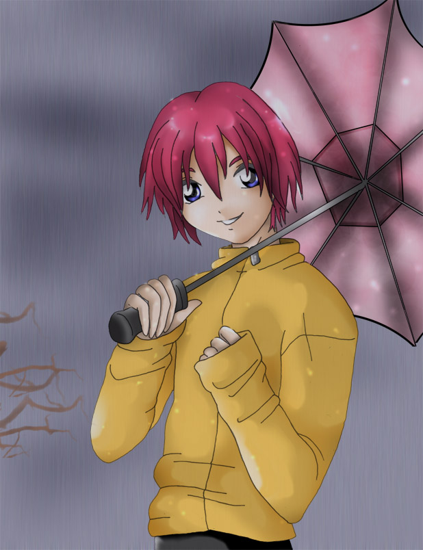 Shuichi in Rain by gothicrinoa