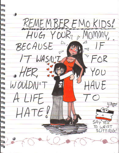 emo hugs his mommy! by HTHM