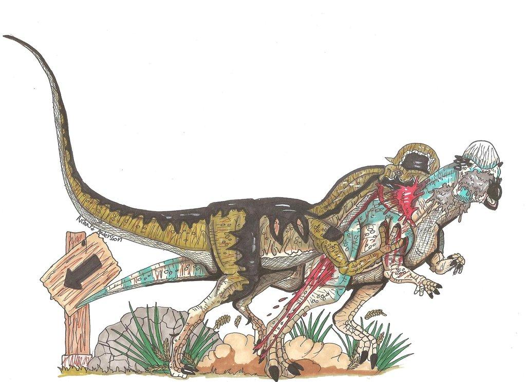Jurassic Park Spitter attack by Hellraptor