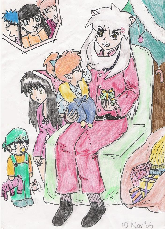 Request: Inuyasha as Santa Claus w/ Shippo pulling on his beard by Hikaridranz