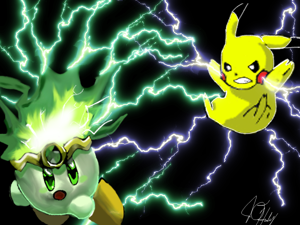 Kirby vs Pikachu by Iamphotoshop