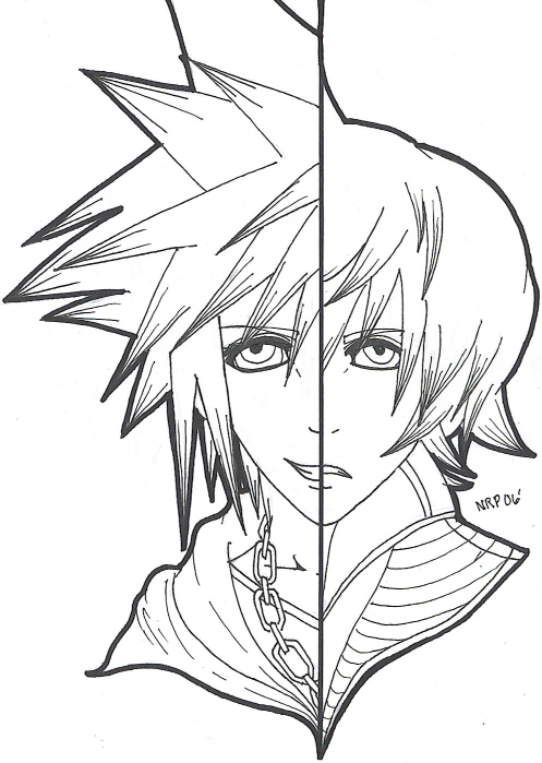 & the other half is nobody(Sora/Roxas)(uncolored) by If_Looks_Could_Kill