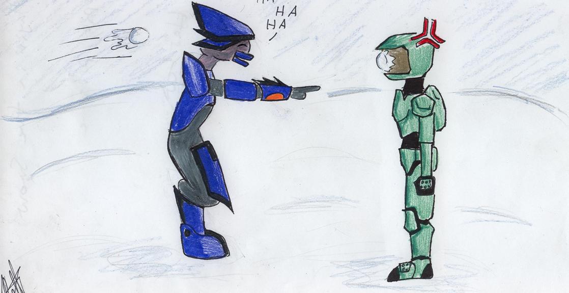 Chibi Halo Snowball Fight by InsanelyLoopyChild