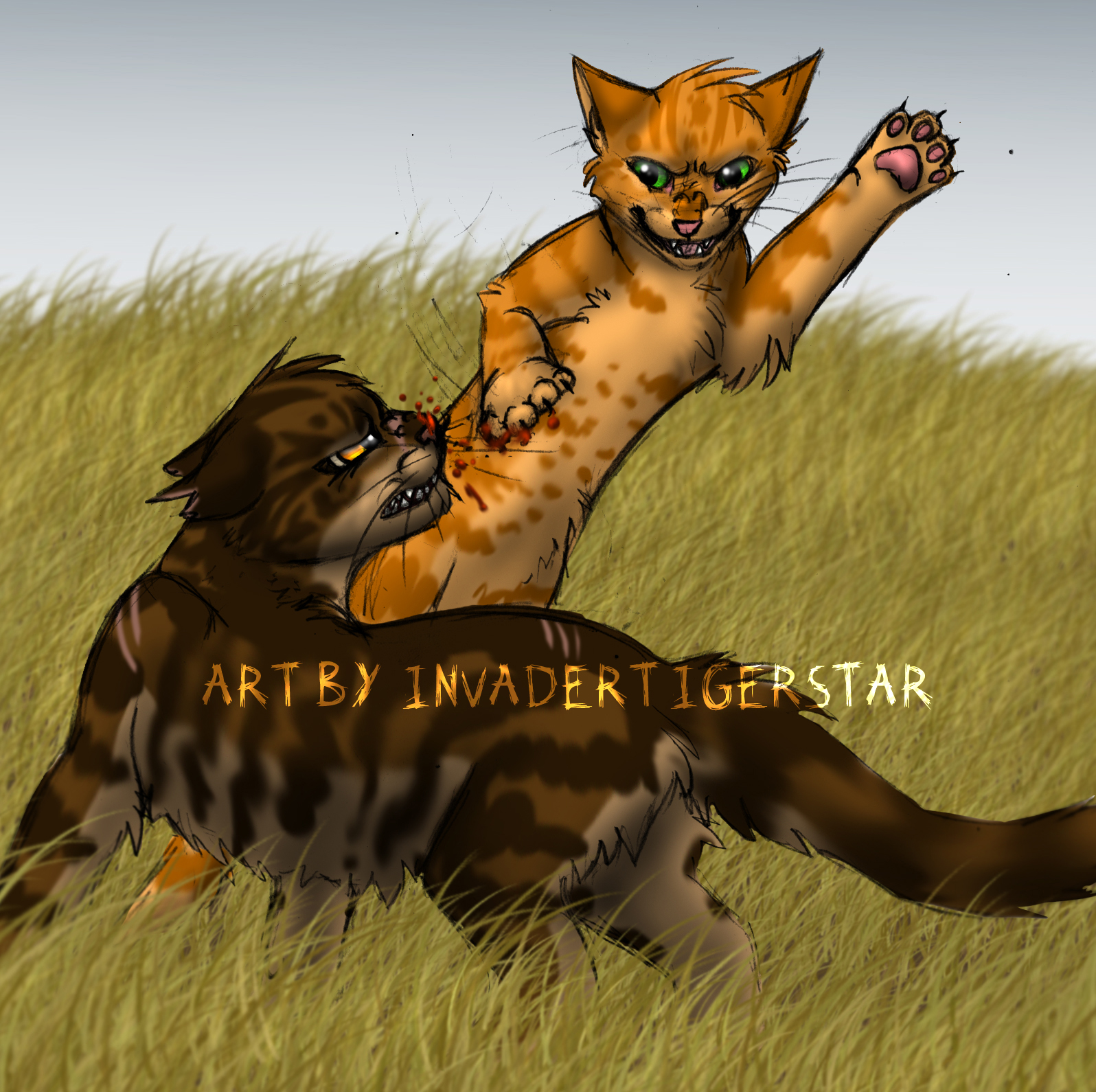 Firestar vs Tigerstar by InvaderTigerstar
