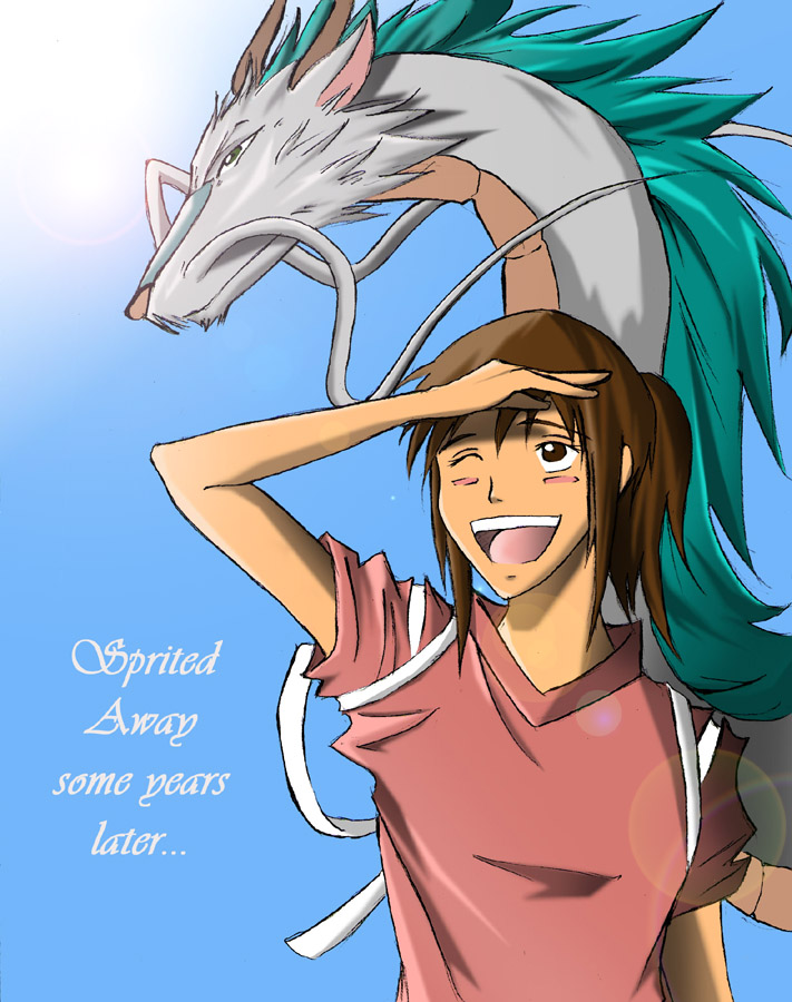 spirited away chihiro. Spirited Away - Chihiro and Haku the Dragon by ihatecollege