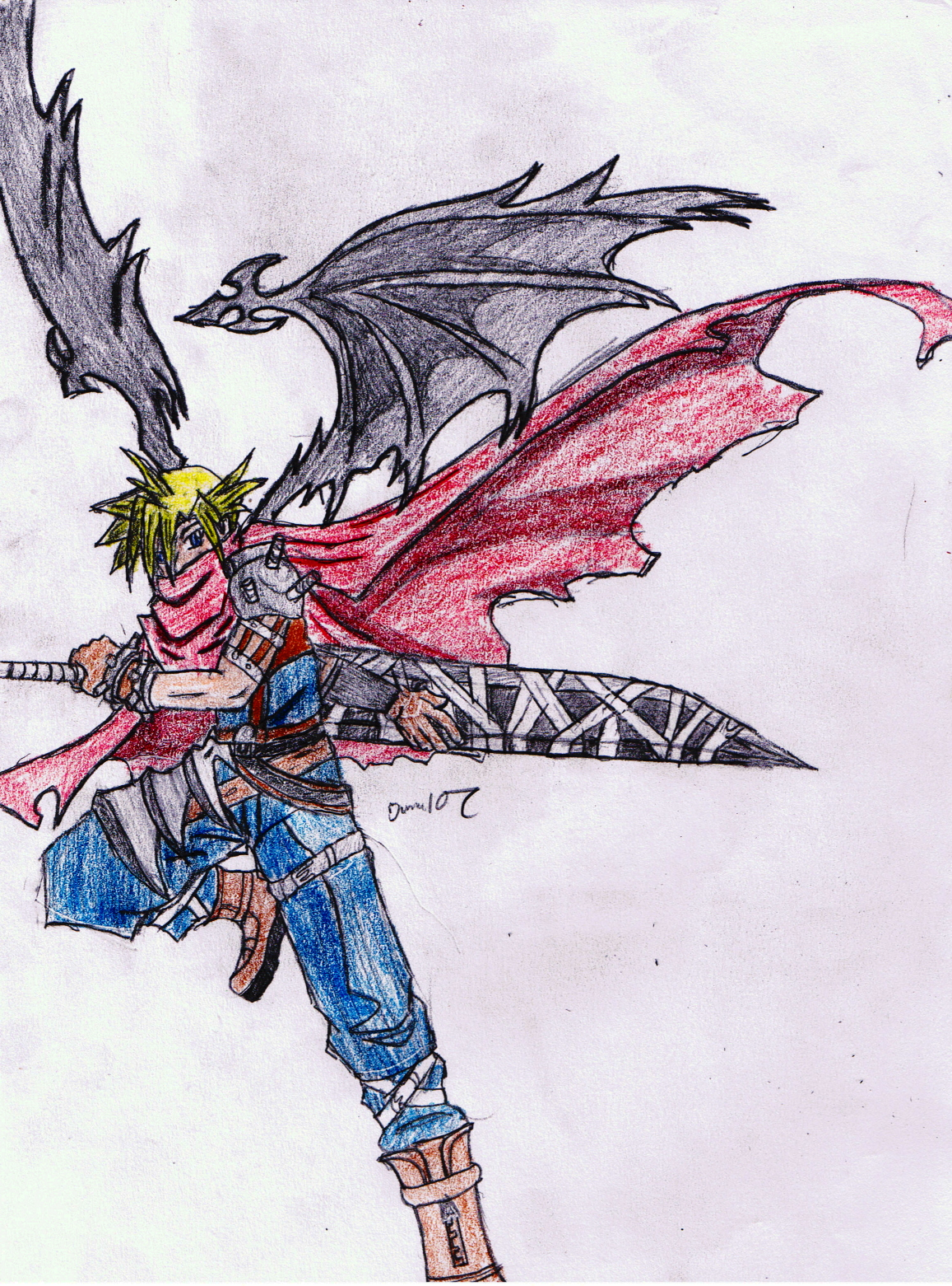 Cloud Strife(colored) by iloveanime