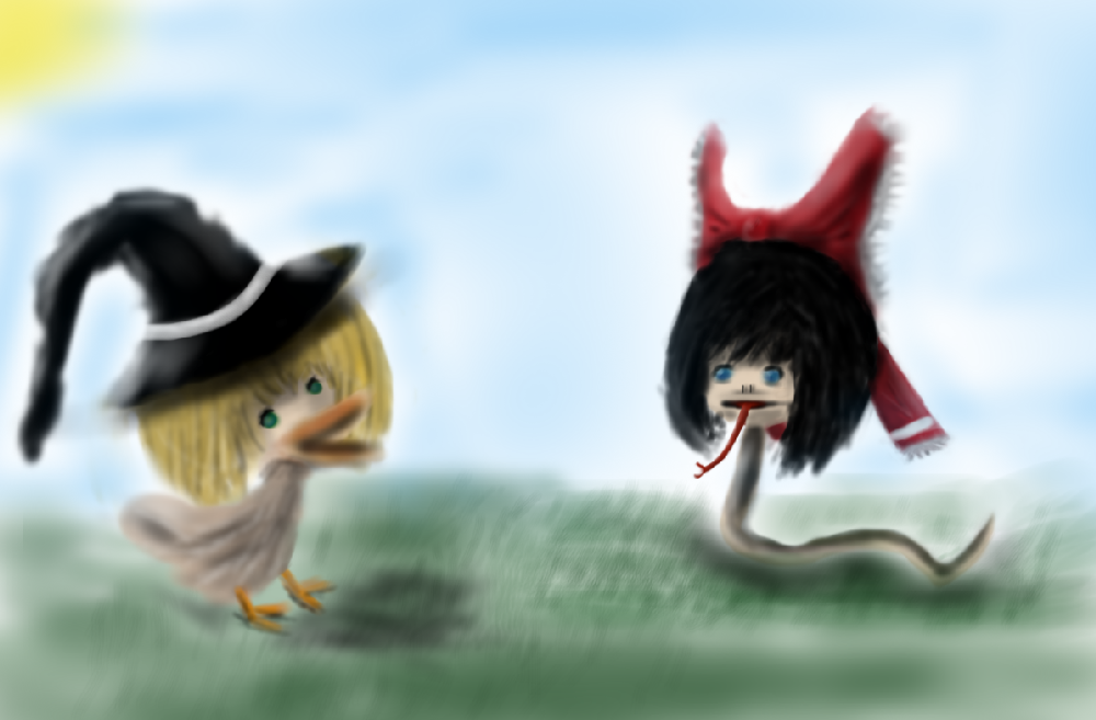 Reimu and Marisa go for a walk by italktowalls