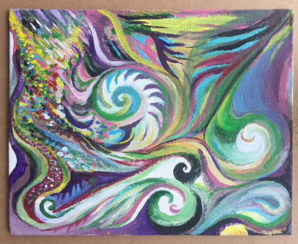 Wind and waves abstract painting by Jadis