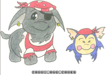 Pirate Poogle and Mongmong. by jammin3giraffe