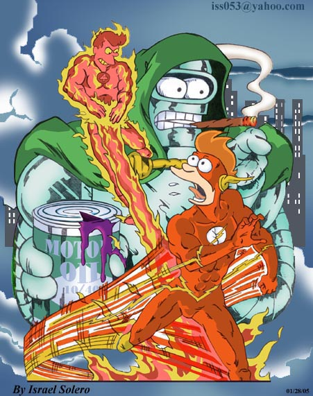 alpha: Futurama's FRY as Flash/Human Torch by jira