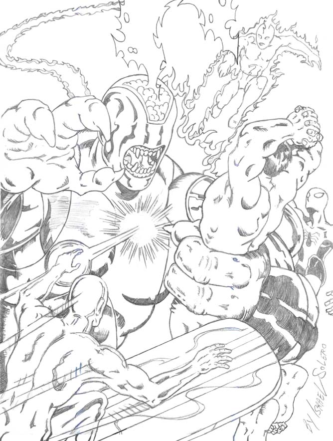 alpha: Validus Battles Hulk, Silver Surfer, Human Torch & Spiderman (prelim by jira