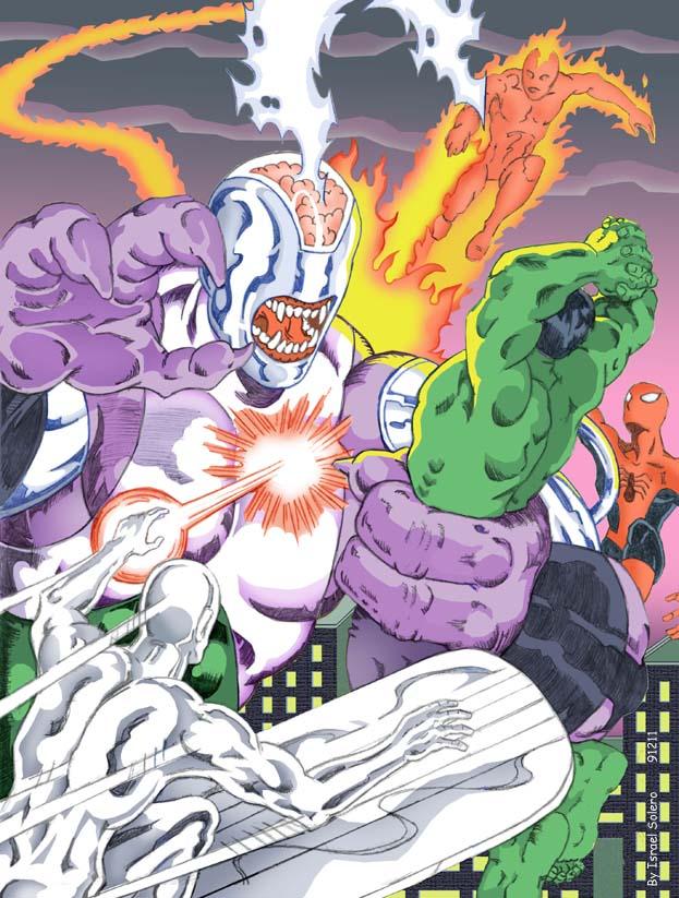 alpha: Validus battles Hulk, Silver Surfer, Human Torch & Spider-Man (clr) by jira