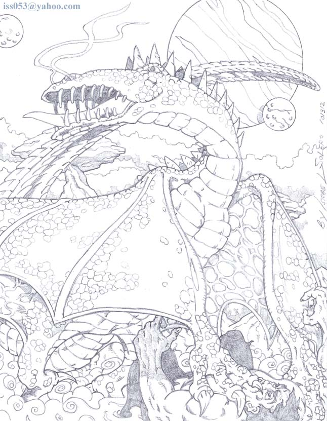 alpha: Fantasy vs Fiction: The Dragon & The Hulk (pencil) by jira