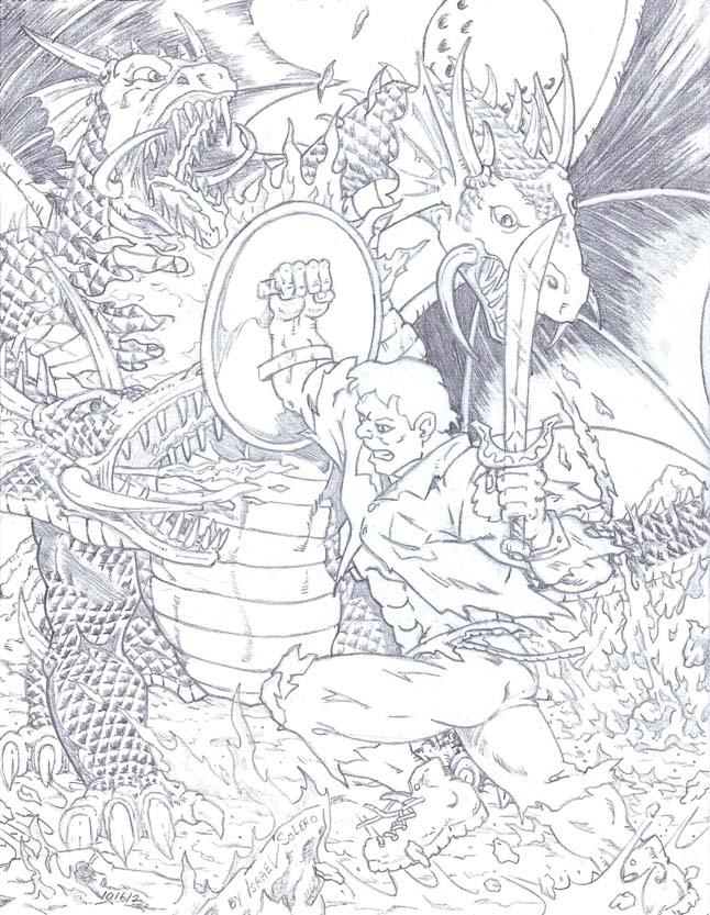 alpha: Solomon Grundy battles A 3 Headed Dragon (pencil) by jira