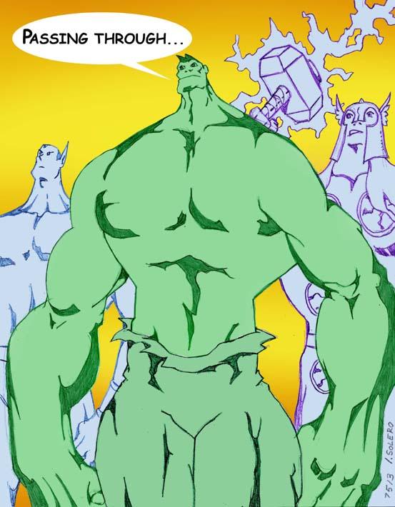 cartoon images of Sub-Mariner, Hulk & Thor by jira