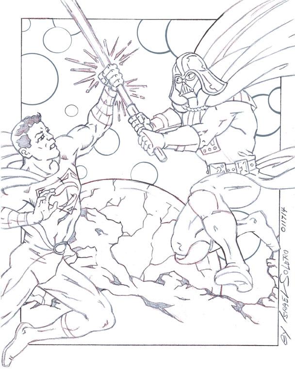 Darth Vader vs. Superman (Outline) by jira