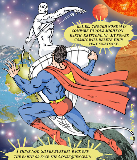 Guess Who's Coming To Dinner? Superman vs. The Silver Surfer by jira