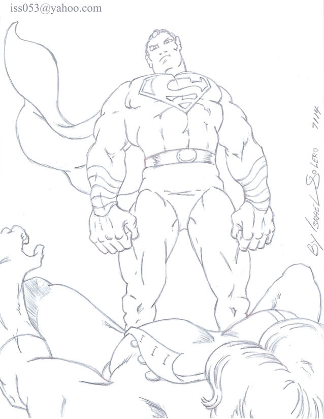 """Stompa of the """"FURIES"""" falls to Superman (outline) by jira"""