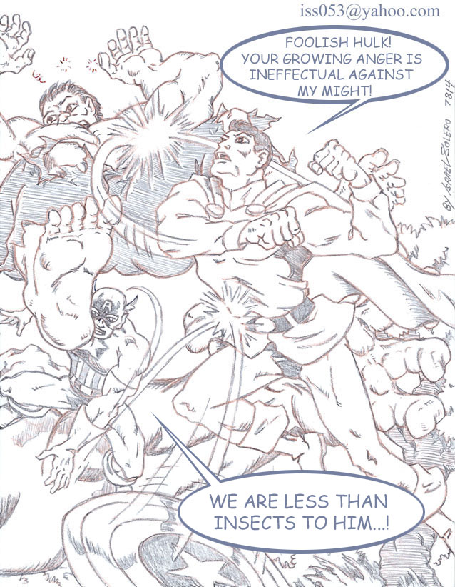 MON-EL Battles Hulk & The Avengers by jira