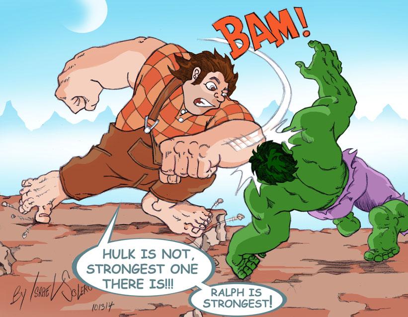 Wreck it Ralph vs. Hulk (Colored) by jira